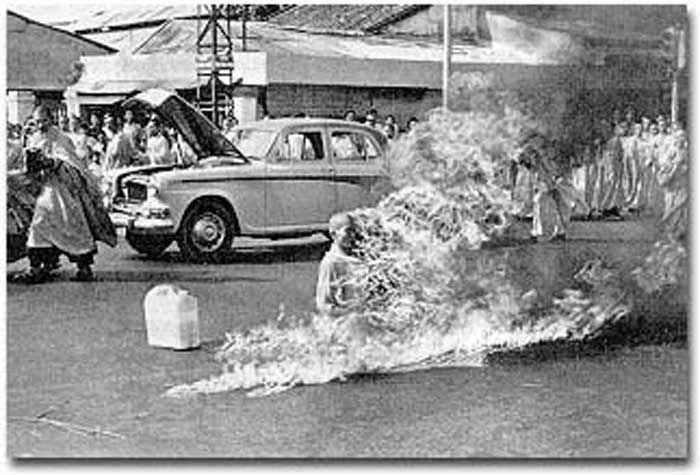 On June 11, 1963, Thich Quang Duc, a Buddhist monk from the Linh-Mu Pagoda in Hue, Vietnam, burned himself to death at a busy intersection in downtown Saigon, Vietnam  to bring attention to the repressive policies of the Catholic Diem regime that controlled the South Vietnamese government at the time.