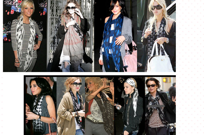 The Alexander McQueen Skull Scarf adorning the necks of numerous celebrities. The pattern has since appeared worldwide on garments produced by fast fashion chain Forever 21.
