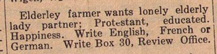 An early personals print ad.