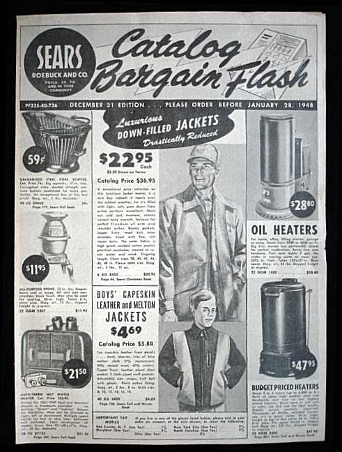 A typical 1920s Sears catalog page