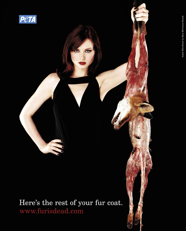 A typical PETA anti-fur ad