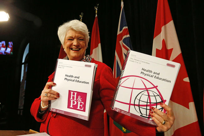 Ontario Education Minister Liz Sandals presenting the new Ontario sexual education curriculum.