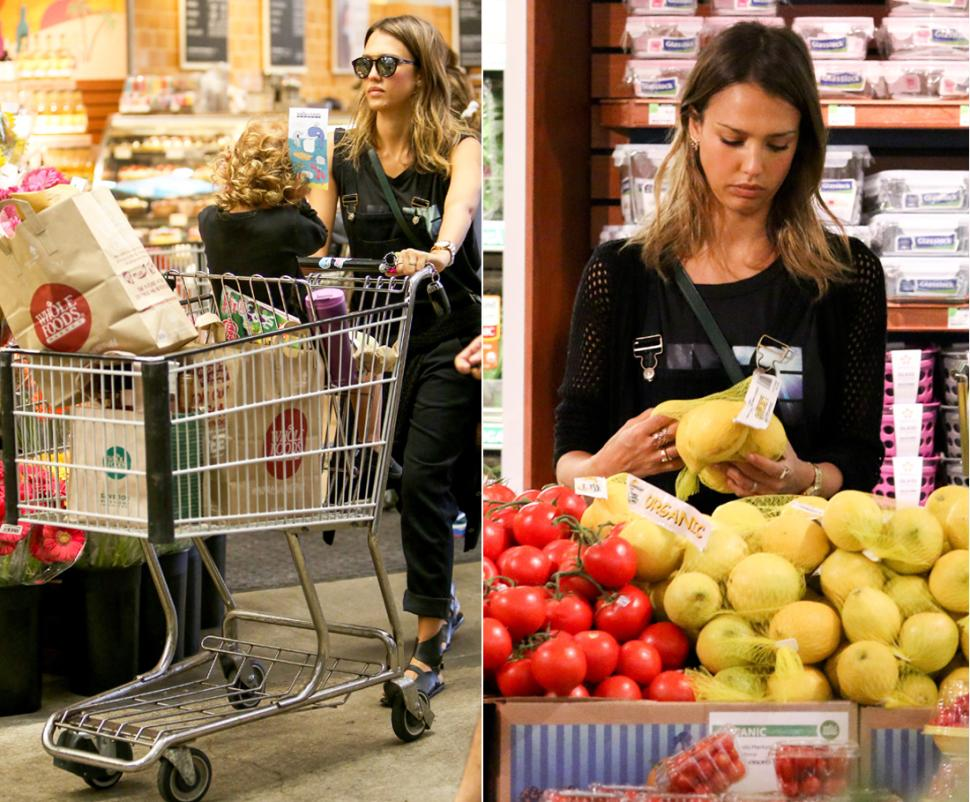 Jessica Alba shopping at Whole Foods Market. Many of our beliefs or practices are influenced by celebrities, often in an aspirational attempt to live like they do, even if what they do is not backed by any credible evidence. The belief that organic food is better for you is a marketing ploy and lifestyle gimmick reinforced by photos like this one.
