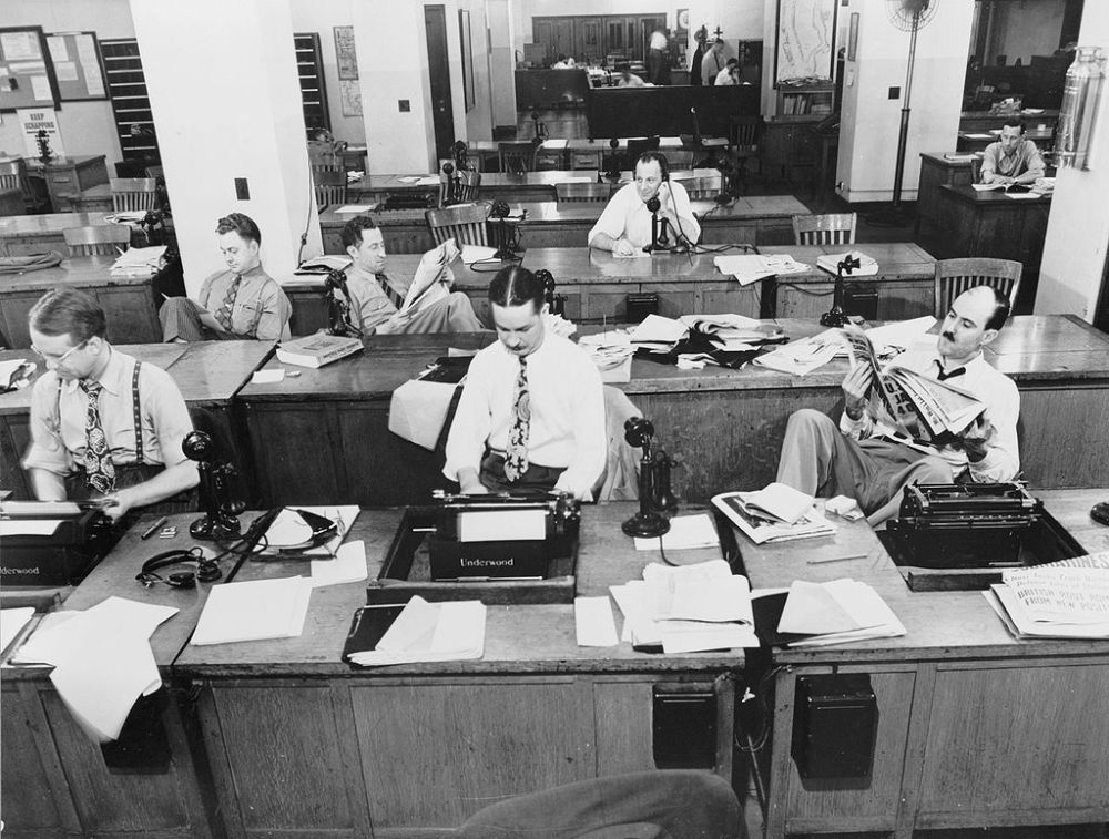 The New York Times newsroom, 1942. Source: Wikipedia.