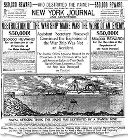 A typical front page of a yellow journalism paper: the front page of The New York Journal. Headlines like this helped start the Spanish American War.